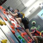 Person climbing on the climbing wall