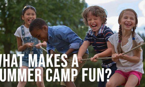 What Makes a Summer Camp Fun? Kids playing tug-o-war.