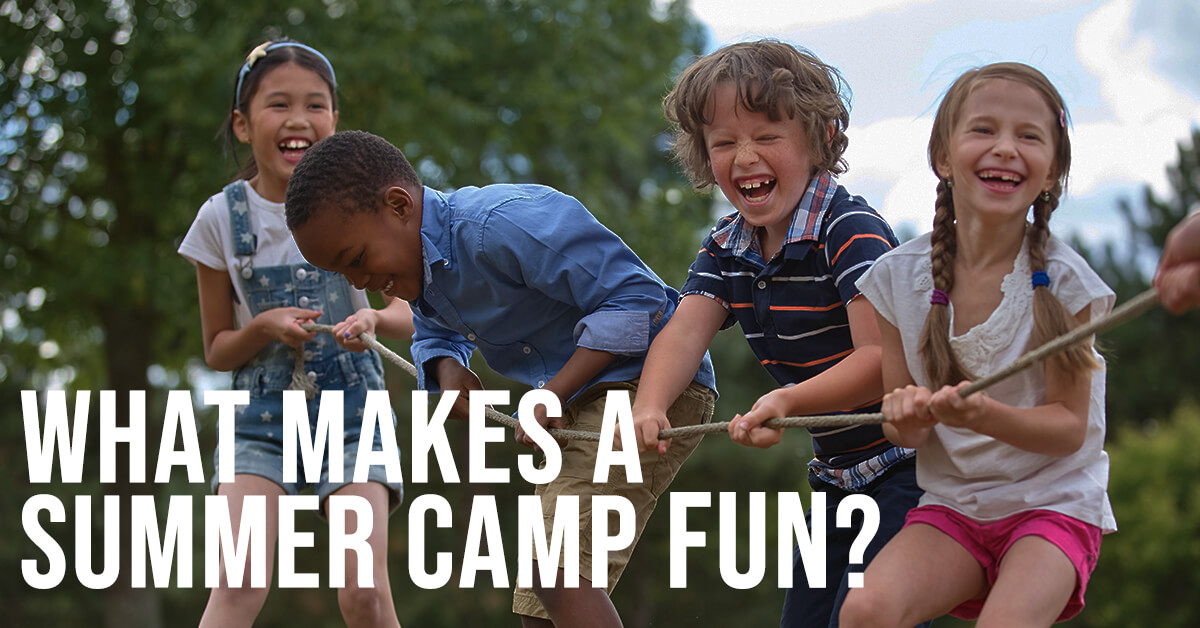 What Makes a Summer Camp Fun? Kids playing tug-o-war.